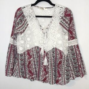 Available by Angela fashion boho embroidered top